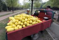 Chinese vendors wait for customers at their mobile fruit stand in Beijing on June 9. China's inflation eased to 3.0 percent in May as other data indicated a slowdown in the world's second largest economy, giving Beijing more room to ease monetary policy to stimulate growth