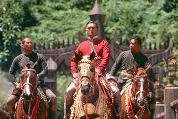 Chow Yun-Fat as King Mongkut of Siam, flanked by royal bodyguards, in 20th Century Fox's Anna And The King