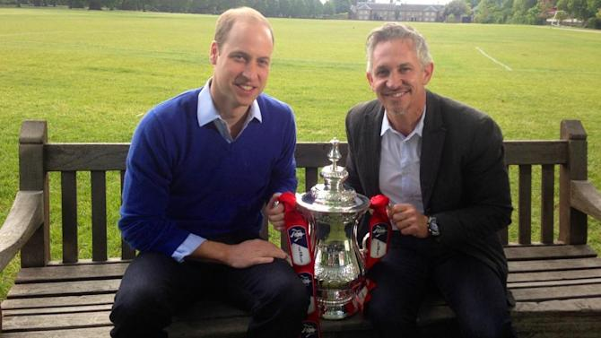 The Duke of Cambridge being interviewed by Gary Lineker for the FA Cup Final on the BBC where he revealed he would love to attend football matches with his son Prince George in the near future (BBC/PA)