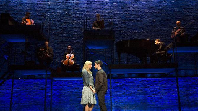 "This theater image released by The Hartman group shows Adam Kantor, right, and Betsy Wolfe during a performance of ""The Last Five Years,"" in New York. (AP Photo/The Hartman Group, Joan Marcus)"