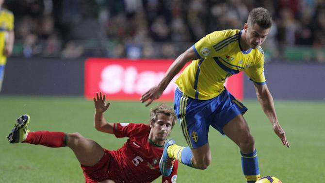 Sweden's Alexander Kacaniklic, right, vies for the ball with Portugal's Fabio Coentrao, left, during a World Cup qualifying first leg playoff soccer match between Portugal and Sweden at the Luz stadium in Lisbon, Portugal, Friday, Nov. 15, 2013