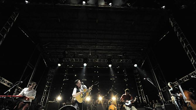 COMMERCIAL IMAGE - In this photograph taken by AP Images for Myspace, Mumford & Sons performs at the Myspace Big Easy Express concert at SXSW in Austin, Texas, Saturday, March 17, 2012. (Jack Dempsey/AP Images for Myspace)