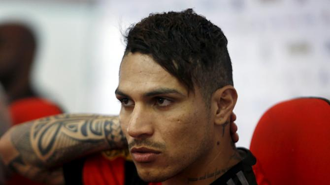 Flamengo's new soccer player Paolo Guerrero attends a news conference during his presentation in Rio de Janeiro