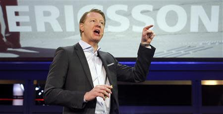 Ericsson's President and CEO Hans Vestberg gestures during a news conference at the Mobile World Congress at Barcelona