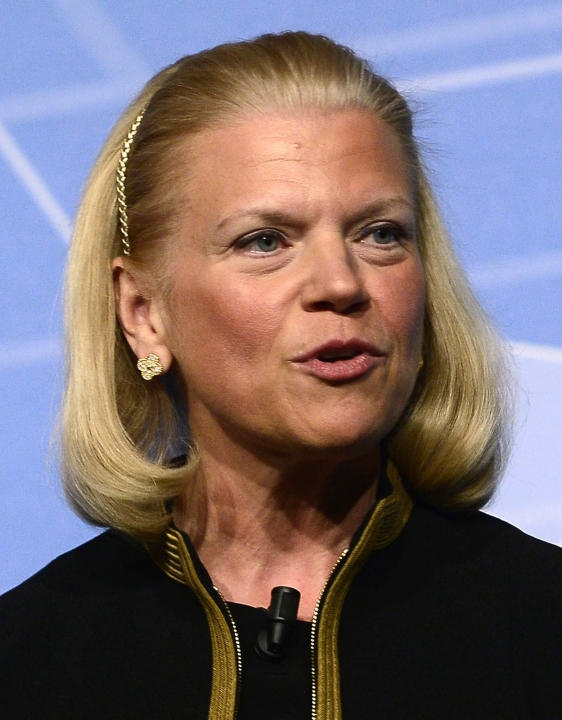 FILE - In this Wednesday, Feb. 26, 2014, file photo, Virginia M. Rometty, chairwoman and CEO of IBM, speaks during a conference at the Mobile World Congress, the world's largest mobile phone trade