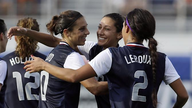 United States' Carli Lloyd (10) is congratulated by teammates Christen Press, center, and Sydney Leroux (2) after Lloyd scored against Russia during a friendly  international soccer match in Boca Raton, Fla., Saturday, Feb. 8, 2014. The U.S. won 7-0