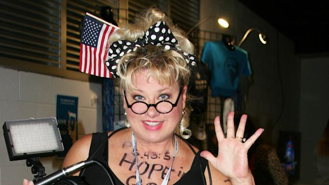 "Comedian, satirist and former Saturday Night Live actress Victoria Jackson says, ""I'm trying to jazz up politics -- it's so boring!"" She hosts the radio program called the Victoria Jackson Show. Jackson posed for a photo just outside the arena floor at the  Democratic National Convention on Thursday Sept. 6, 2012. (Torrey AndersonSchoepe/Yahoo! News)"