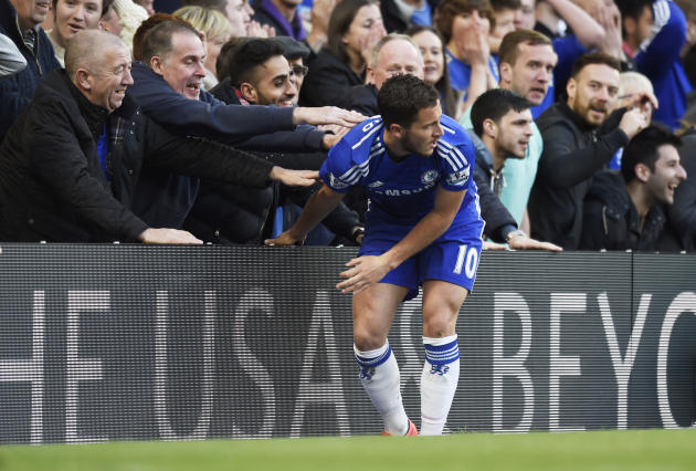 Football: Chelsea's Eden Hazard with fans after a missed chance