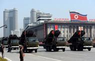 """Mutliple launch rocket systems are displayed during a military parade to mark 100 years since the birth of the country's founder Kim Il-Sung in Pyongyang in April 2012. North Korea on Friday vowed to expand and modernise its nuclear deterrent """"beyond imagination"""" unless the United States changes its policy towards the communist nation"""