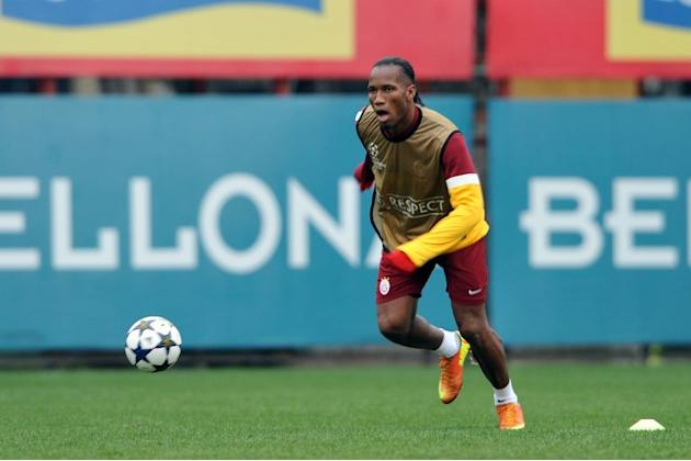 Galatasaray striker Didier Drogba during a training session on February 19, 2013