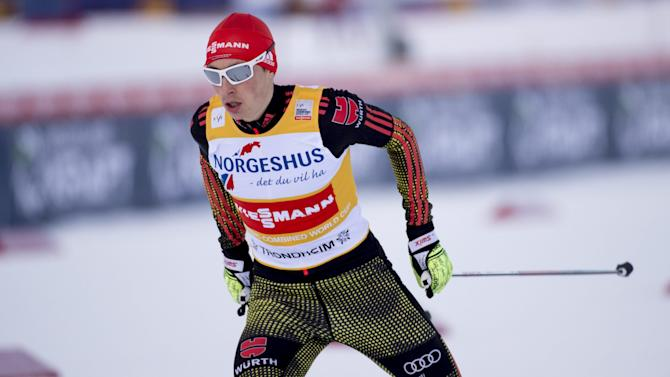 Eric Frenzel of Germany skis to a second place finish at the FIS World Cup Nordic Combined Men's Gundersen event in Trondheim, Norway