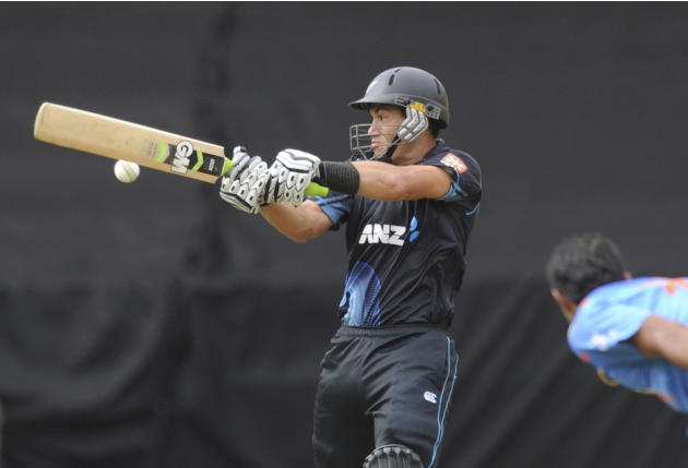 New Zealand's Ross Taylor bats against India in the fifth and final one-day international cricket match in Wellington, New Zealand, Friday, Jan. 31, 2014. (AP Photo/SNPA, Ross Setford) NEW ZEALAND