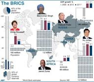 Graphic on the five-nation BRICS group of countries. Leaders have called for greater say at the IMF and World Bank, while India and Russia have each pledged $10 billion on Monday for an IMF firewall against future crises