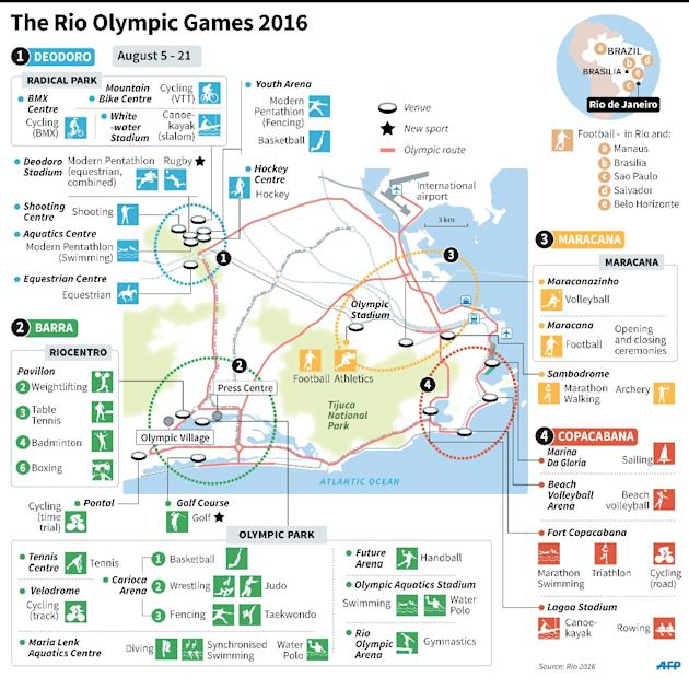 Map of greater Rio de Janeiro, locating Olympic venues and corresponding sports events
