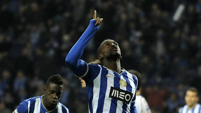 FC Porto's Jackson Martinez, from Colombia, celebrates after scoring the opening goal against Nacional in a Portuguese League soccer match at the Dragao stadium in Porto, Portugal, Saturday, Nov. 23, 2013