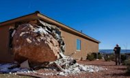 Huge Boulder Falls Onto House In Utah