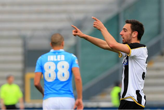 Udinese's Fernandes Bruno, celebrates after scoring during the Serie A soccer match between Udinese and Napoli at the Friuli Stadium in Udine, Italy, Saturday, April 19 2014