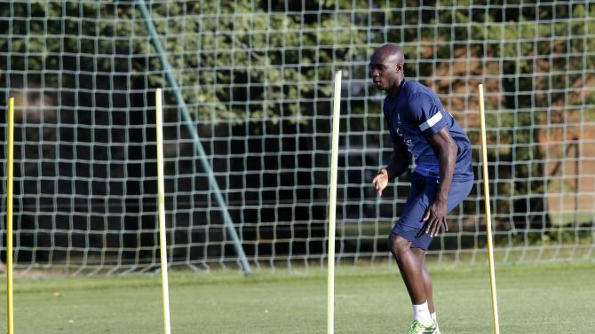 France's national soccer team player Eliaquim Mangala practices during a training session in Clairefontaine