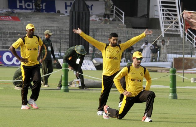 Zimbabwe players take part in a net practice at the Gaddafi stadium in Lahore, Pakistan, Wednesday, May 20, 2015. Zimbabwe is the first test playing nation to visit Pakistan since the 2009 ambush by g