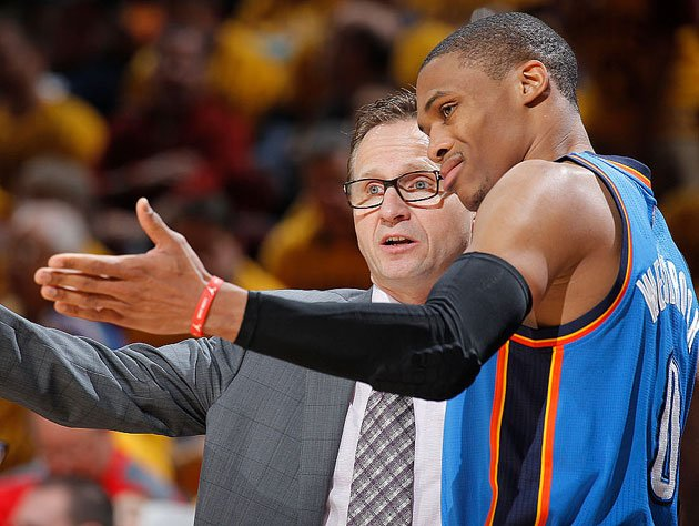 Scott Brooks and Russell Westbrook meet again. (Getty Images)