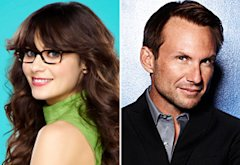 Zooey Deschanel, New Girl and Christian Slater, Breaking In   | Photo Credits: Autumn Dewilde/Fox; David Johnson/Fox