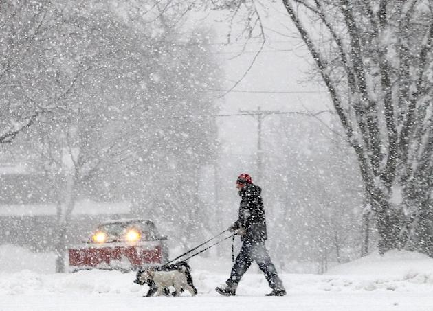 Steve Gordon of Madison, Wis., walks his dogs along Grandview Blvd. on the city's south side as a steady snowfall moves throughout the area Thursday, Dec. 20, 2012. The first major snowstorm of the se