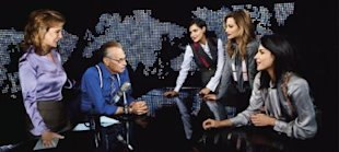 Fashionista Larry King surrounded by doting women (Magnus Unnar/Harpers Bazaar)