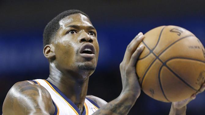 In this Feb. 6, 2013 file photo, Oklahoma City Thunder guard DeAndre Liggins (25) shoots a foul shot against the Golden State Warriors during an NBA basketball game in Oklahoma City. Liggins has signed a 10-day contract with the Miami Heat. Liggins has played in 56 NBA games for Oklahoma City and Orlando