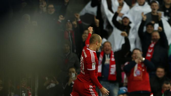 Bayern Munich's Robben celebrates goal during German Bundesliga first division soccer match against Schalke 04 in Munich