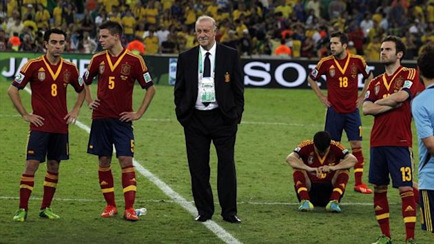 Spain players after losing to Brazil (Reuters)