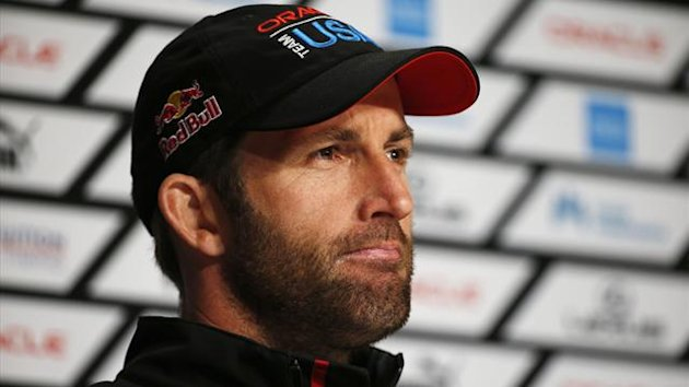 Oracle Team USA tactician Ben Ainslie speaks to members of the media after winning Race 18 of the 34th America's Cup yacht sailing race against Emirates Team New Zealand in San Francisco (Reuters)