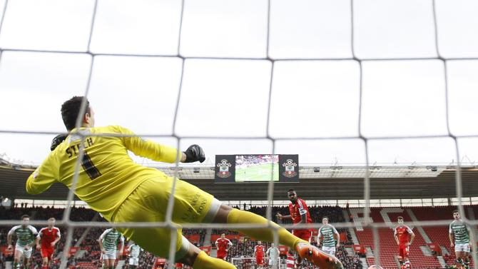 Southampton's Do Prado shoots and scores a penalty against Yeovil Town during their English FA Cup fourth round soccer match at St Mary's stadium in Southampton, southern England