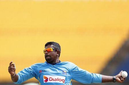 Sri Lanka's Herath bowls during a practice session ahead of their third ODI cricket match against England in Hambantota