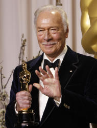 "Christopher Plummer poses with his award for best supporting actor for ""Beginners"" during the 84th Academy Awards on Sunday, Feb. 26, 2012, in the Hollywood section of Los Angeles. (AP Photo/Joel Ryan)"