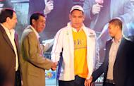 June Mar Fajardo shortly after he was selected first overall by Petron. (PBA Images)