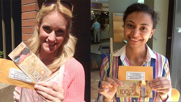 Britanya Hodge and Rina Youssef found hundred dollar bills in an unusual hidden treasure hunt seeping North America
