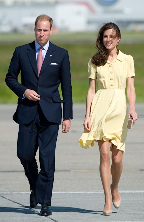 Shimmering in subtle hose in Calgary with her new husband, Prince William