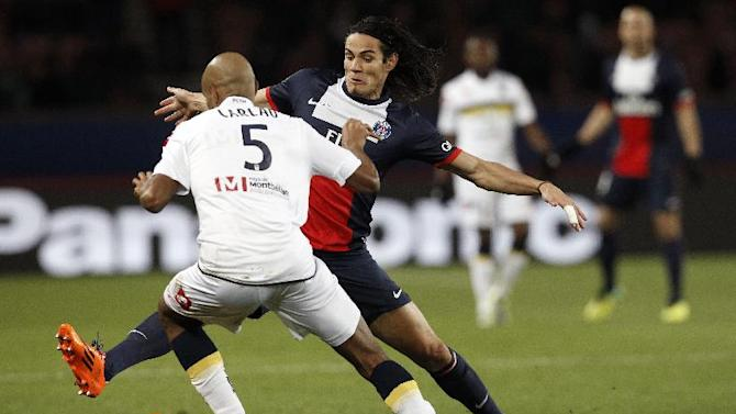 Paris Saint Germain's forward Edinson Cavani from Uruguay, center background, vies for the ball with Sochaux's Roberto Carlao from Brazil, during their French League one soccer match, in Parc des Princes stadium, in Paris, Saturday, Dec. 7, 2013