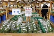 Locally grown vegetables on sale at Sukagawa in Fukushima prefecture last March with a sign stating all vegetables are grown inside a greenhouse. Japan pressed Southeast Asian nations on Tuesday to lift curbs on its exports imposed after last year's earthquake and subsequent Fukushima nuclear disaster