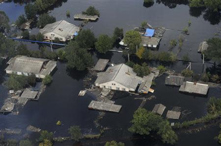An aerial view from a helicopter shows the flooded area of the far eastern Jewish Autonomous Region