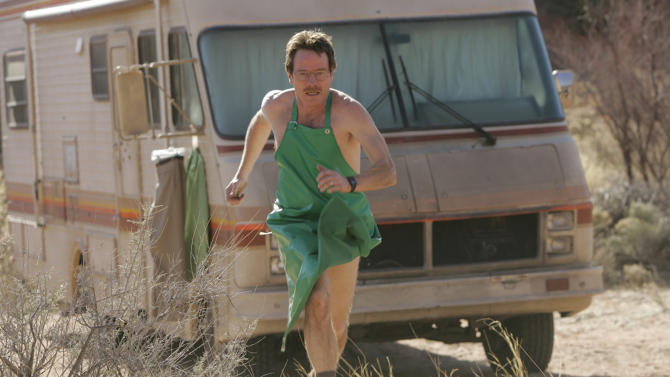"""FILE - In this undated file photo released by AMC, Bryan Cranston as Walter White runs for his life during a scene from the AMC drama series """"Breaking Bad"""".  The the saga of the fictitious Walter White, a timid-chemistry-teacher-turned-masterful-drug-lord, bears some similarities to recent reports of factory-like """"superlabs"""" in Mexico that are turning out meth with large-scale efficiency. (AP Photo/Doug Hyun, AMC, FILE)"""