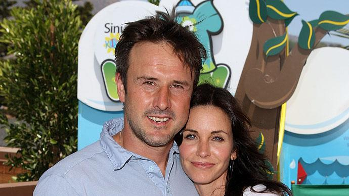 David Arquette and Courteney Cox-Arquette attend the Sinupret for Kids Lounge during the EB Medical Research Foundation picnic hosted by Courteney Cox and James Marsden held at The Malibu Lumber Yard on June 28, 2009 in Malibu, California.