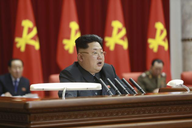 North Korean leader Kim Jong Un (C) supervises an expanded meeting of the Political Bureau of the Central Committee of the Workers' Party of Korea in Pyongyang in this February 18, 2015 photo released by North Korea's Korean Central News Agency (KCNA) in Pyongyang February 19, 2015. REUTERS/KCNA (NORTH KOREA - Tags: POLITICS) ATTENTION EDITORS - THIS PICTURE WAS PROVIDED BY A THIRD PARTY. REUTERS IS UNABLE TO INDEPENDENTLY VERIFY THE AUTHENTICITY, CONTENT, LOCATION OR DATE OF THIS IMAGE. FOR EDITORIAL USE ONLY. NOT FOR SALE FOR MARKETING OR ADVERTISING CAMPAIGNS. THIS PICTURE IS DISTRIBUTED EXACTLY AS RECEIVED BY REUTERS, AS A SERVICE TO CLIENTS. NO THIRD PARTY SALES. NOT FOR USE BY REUTERS THIRD PARTY DISTRIBUTORS. SOUTH KOREA OUT. NO COMMERCIAL OR EDITORIAL SALES IN SOUTH KOREA