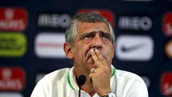 Portugal's national soccer team head coach Fernando Santos attends a news conference at Alvalade stadium in Lisbon