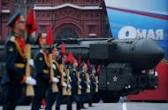 A Russian Topol intercontinental ballistic missile during the Victory Day parade on the Red Square in Moscow, May 9. Russia has staged the first successful test-launch of a new intercontinental ballistic missile capable of breaching defence systems now being developed by NATO, a military spokesman says
