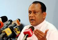 Lakshman Yapa Abeywardena, Sri Lankan Economic Development Deputy Minister, at a press conference in Colombo in December 2011. Sri Lanka is setting up new courts to accelerate cases against hundreds of Tamil rebel suspects three years after the end of the island's bloody ethnic war, he said Thursday