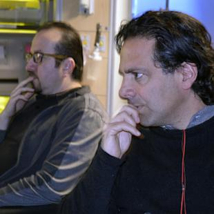 """In this Feb. 19, 2015 photo, Gabe Sachs, right, executive producer of NBC's """"The Night Shift,"""" watches over filming of an episode at Albuquerque Studios in Albuquerque, N.M. Almost two years after the last """"Breaking Bad"""" episode aired, film and television production in New Mexico has not slowed, with new projects in the works. (AP Photo/Russell Contreras)"""