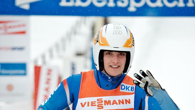Morgane Bonnefoy of France comptes in the womens luge World Cup event in the Latvian town of Sigulda on February 19, 2012. AFP PHOTO /ILMARS ZNOTINS (Photo credit should read ILMARS ZNOTINS/AFP/Getty Images)