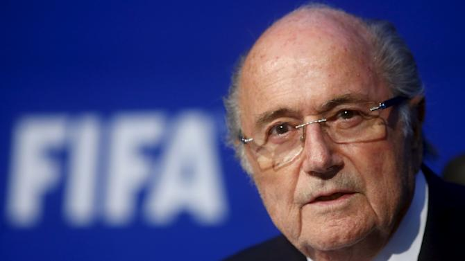 File photo shows FIFA President Sepp Blatter speaking during a news conference after the Extraordinary FIFA Executive Committee Meeting at the FIFA headquarters in Zurich