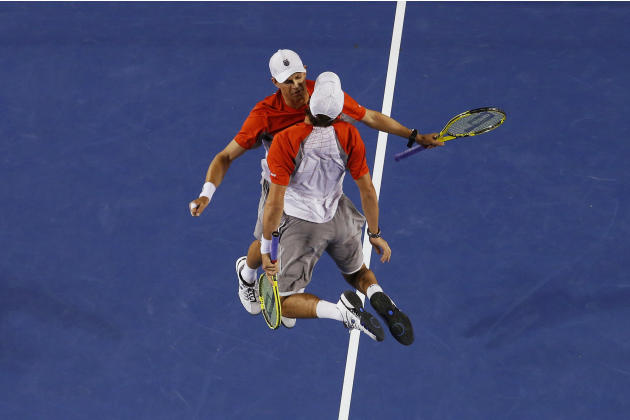 Bob and Mike Bryan of the U.S. celebrate defeating Robin Haase and Igor Sijsling of Netherlands in their men's doubles final match at the Australian Open tennis tournament in Melbourne